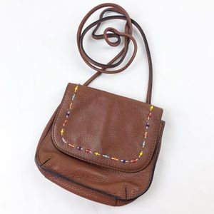 Fossil Mini Crossbody Beaded Brown Leather Bag